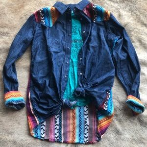 Crazy Train Serape/Denim Shirt